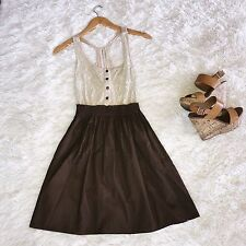 Anthropologie Maude Light Brown Lace Key Hole Mini Fit Flare Sleeveless Skirt S