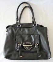 KAREN MILLEN UK ~ Black Leather Handbag w 2 Handles Pockets Silver Hardware