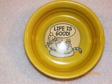 """1 cat dog pet food round green bowl """"Life is Good"""" sleeping cat on bed waves"""