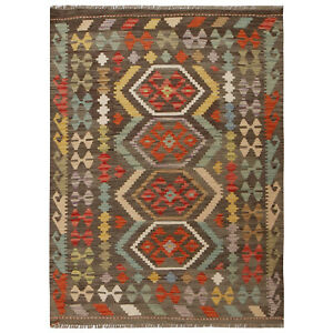 Excellent Hand-knotted Oriental Chobi Colorful Kilim Wool Rug 4'1x5'6 ft. -10723