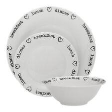 Charm 12pc Dinner Set White Plates Bowls Porcelain Service Dining Set