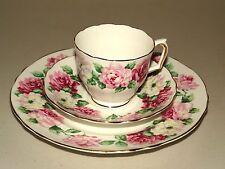 LOVELY CROWN STAFFORDSHIRE ENGLAND FINE BONE CHINE TEA SET TRIO ~ TRINITY ROSE