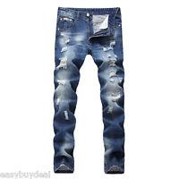 Fashion Men's Light Blue Ripped Destroyed Jeans Straight Slim Fit Denim Pants