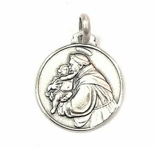 18MM Sterling Silver 925 Saint Anthony of Padua Medal Necklace Pendant-ITALY
