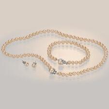 "Pili Pala 18"" Pearl Necklace Freshwater Womens Jewellery Rhodium Plated Set NEW"