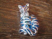prächtiger Anhänger Brosche Katze 925er Silber Emaille enamel Cat Pendant Brooch