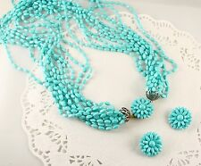 50s Aqua Blue Multistrand Bead Necklace & Clip On Earring Set - Vintage Flowers
