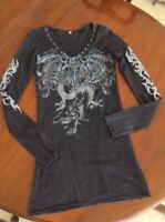 BEDAZZLING BEJEWELED BLACK TUNIC WITH CRYSTALS & STUDS, SIZE M