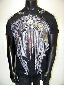 Mens T Shirt Black Huge Gold Foil Barbwire Graphics Slim Fit XZAVIER Size M XL