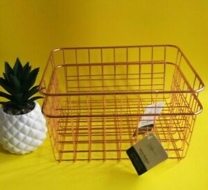 🆕Mainstays Wire Basket Set Of 2 Copper Color 11 in x 8.66 in x 4.75 in.