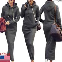 Women Winter Long Sleeve Hooded Long Maxi Dress Pullover Sweatshirt Hoodie Dress