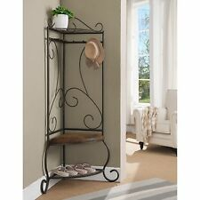 Scroll Design Slim Corner Hall Tree Stand Home Living Room Entryway Furniture