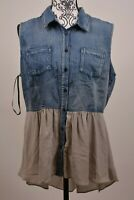 City Chic Women's Chambray Mixed Media Plume Top Plus Size XS/14