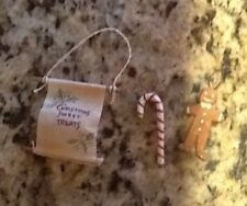3 Piece Set - Miniature Candy Cane, Gingerbread Man & Christmas Scroll Ornaments