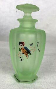 "Tiffin Vaseline Glass Perfume Bottle Jungle Parrot Design 4-1/2"""