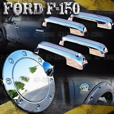 For Ford F150 Chrome 4 Door Handle Fuel Gas Door Cover Combo Overlay Trim Set