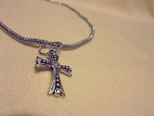 "16"" Mesh Chain With Extender. Nice Small Cross With Rhinestone On"