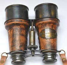 Marine Antique Finish Brass Made Binocular With Leather Box-Royal Marine London