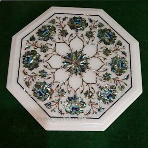 "12"" Marble Table Top Mosiac Ablone Shell Inlaid Handmade Table Top Decor Gift"