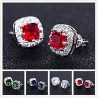 Fashion 925 Silver Birthstone Topaz Square Ear Stud Earrings Women Chic Jewelry