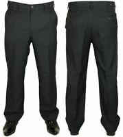 Mens New Farah Trousers Flexi Elastic Navy Blue Smart Casual Formal Pants 34-46