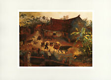 "1958 ""Late Afternoon in Village"" Vietnam War Lacquer Painting Vintage Art Print"