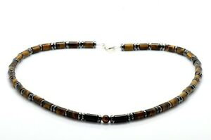 Mens Bead Necklace Tiger's Eye Onyx Hematite 925 Sterling Silver Clasp Handmade