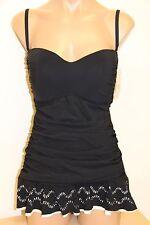NWT Profile Gottex Bikini Swimsuit 1 one piece attached Dress Sz 20W Black White