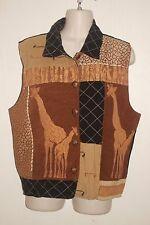 DRESSBARN ~ Browns & Black Safari Patchwork Lined Vest Sz L *VERY GOOD COND.