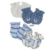 Gerber Baby Boy 4-Pack Blue Bear Organic Mittens Size 0-3M
