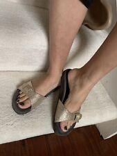 Brunello Cucinelli Soft Gold  Monili slide sandal, 38/7.5