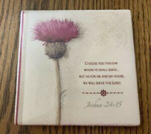 "Decorative Floral Tile Bible Verse Choose This Day  5"" Plaque Home Decor"