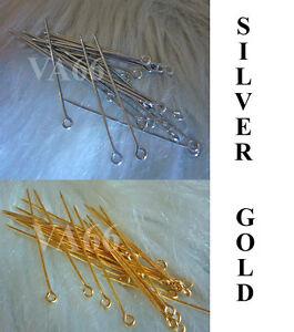 Sharp end Headpins Head Pins Scarf Jarum Eyepins 43mm gold silver 50p for Tudung