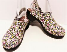 Hanna Andersson Womens Sz 39- US 8/ 8.5 Leather Black Pink Yellow Slingback Clog