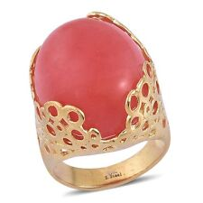 CHERRY QUARTZ CHUNKY HUGE SOLITAIRE RING YELLOW GOLD OVER STEEL RING SIZE 10