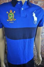New Polo Ralph Lauren Big Pony Custom Slim Fit Polo Shirt Mesh Knit Blue M,L,XL