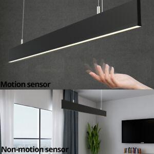 30W Linear LED Pendant Light 1200(L)x15(W)x 75(H) 3K/4K-Black-Hand Sensor option
