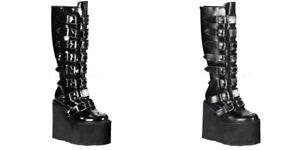 "DEMONIA Swing-815 Goth Cyber Punk Metal Plates Buckles 5.5"" Platform Knee Boots"