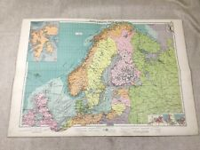 Vintage Map North European Ports Maritime Shipping Routes Original Large 1920s