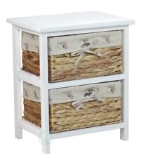 New Vintiquewise Nightstand Cabinet Chest with 2 Basket Drawer, QI003156