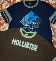 Lot of Men's Size L & XL Hollister Short Sleeve Embellished Crew Neck Tee Shirts