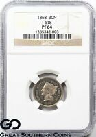 1868 Three Cent Nickel Pattern Proof, Judd-618 NGC PF 64 ** Highly Collectible!