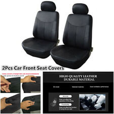 2Pcs Front Car Seat Covers Black PU Leather Protector Cushion For Four Seasons