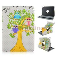 360 Rotating Owl PU Leather Case Smart Cover Stand for Apple iPad Air 2 White