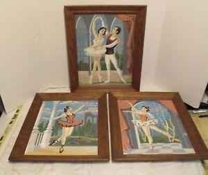 Vintage Paint By Number BALLET DANCERS BALLERINA Paintings LOT OF 3 Framed  VGC