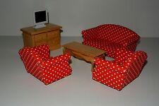Wohnzimmer 6 teilig in 1:12 , Puppenmöbel, Puppenstube , Möbel , Set . rot