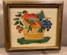 "Theorem Painting Carol Heinz 8""x7""Fruit Basket Signed Watercolor Folk Art"
