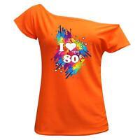 I Love The 80s Retro Pop 80's T Shirt Top Tee Ladies Off Shoulder Summer Shirt