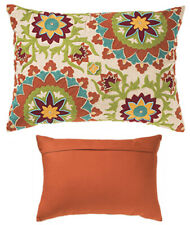Orange Green Blue Cotton Cushion Cover With Embroidery Floral Design 35 x 50 cm