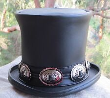 DELUXE GENUINE BLACK LEATHER GUNS N ROSES SLASH STYLE MENS TOP HAT HEAVY METAL